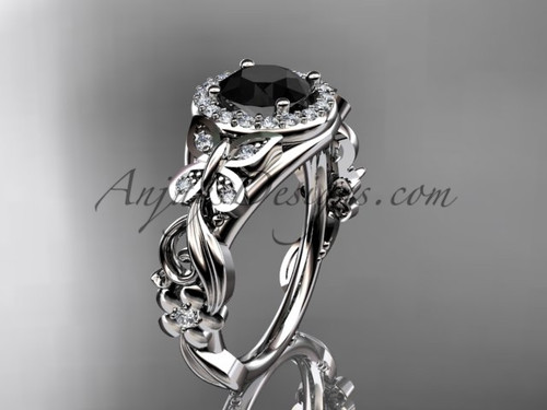 Butterfly Engagement Rings Platinum Black Diamond Ring ADLR525