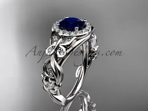 Blue Sapphire Engagement Rings White Gold Butterfly Ring ADBS525