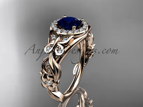 Blue Sapphire Engagement Rings Rose Gold Butterfly Ring ADBS525
