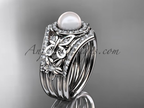 Pearl Double Band Ring Set 14kt White Gold Fl Wedding With Diamonds Ap524