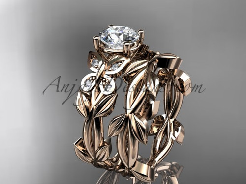 Butterfly Wedding Sets - Rose Gold Moissanite Ring ADLR526S