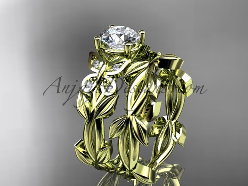 Butterfly Wedding Set - Yellow Gold Moissanite Ring ADLR526S