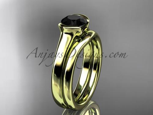 Vintage Wedding Ring Sets Yellow Gold Black Diamond Ring VD10016S