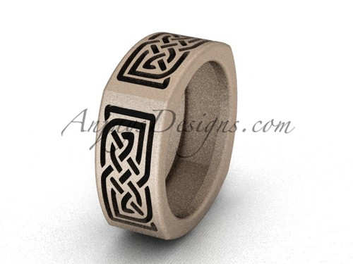 Irish Bridal Rings - Rose Gold Matte Finish Celtic Wedding Band CT7506G