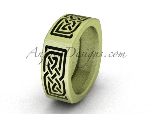 Irish Bridal Rings - Yellow Gold Matte Finish Celtic Wedding Band CT7506G