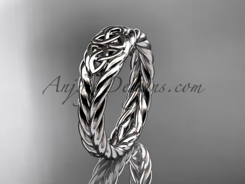 Twisted rope wedding band - white gold celtic ring RPCT9603G
