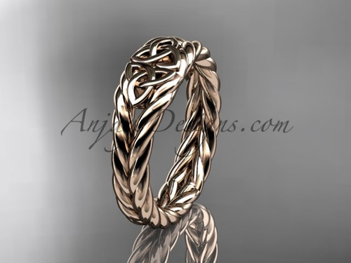 Twisted rope wedding band - rose gold celtic ring RPCT9603G