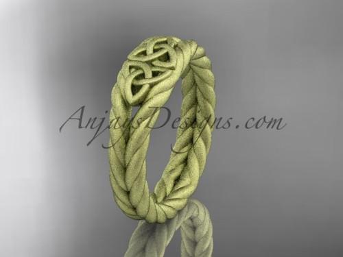 Rope matte wedding band, Yellow gold celtic ring RPCT9603G