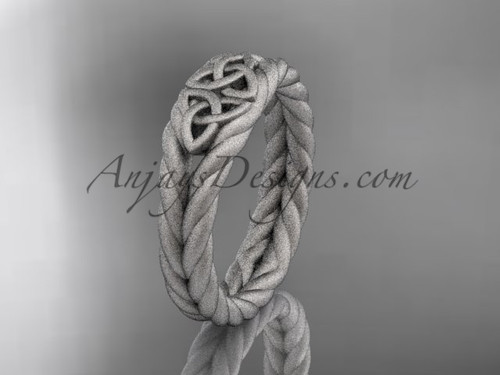 Twisted matte wedding band, Platinum celtic ring RPCT9603G