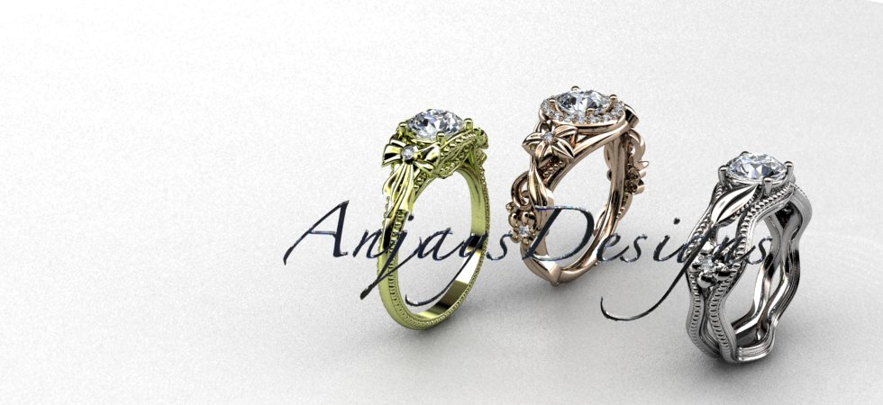 Nature Inspired Engagement  Rings Flower Wedding Rings | Anjaysdesigns.com