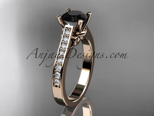 14kt rose gold diamond unique engagement ring wedding ring with a