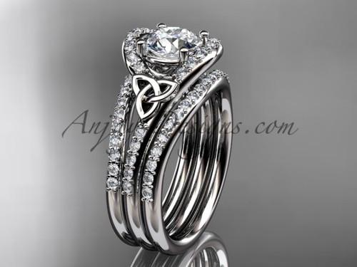 Irish Wedding Ring Set, 14kt White Gold Diamond Celtic Trinity Knot Engagement  Ring CT7317S