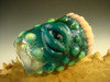 Hand blown Shot Glass Flameworked Art Freaky Monster eye teeth Mazet slime green and teal (ready to ship)