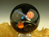 Large Glass Space Scene Art Marble by KIMMO Opal Comet Planet Galaxy orb Sphere Red and white Orange