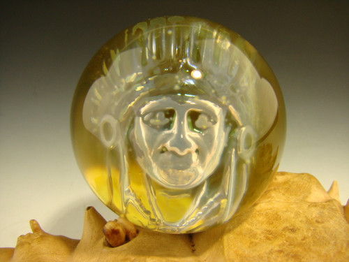 Phantom Indian Chief Glass Art Marble 3/D Orb Naitve American Boro-sphere by Elly (ready to ship)