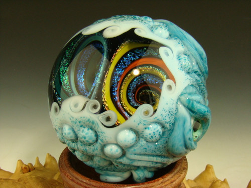 Huge Double Dichroic Glass VORTEX MONSTER Marble Orb 7 Eyes oddity Eye Lampwork Art