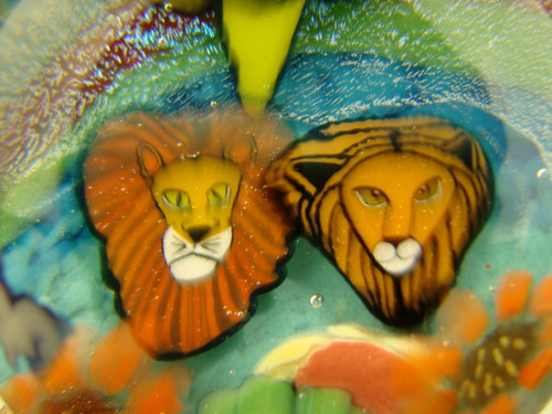 Large Glass Marble millefiorie Lion Nature scene Fantasy Milli Art Dichro Wolfe orb Spher