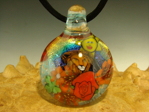 Large Glass Pendant millefiorie Lion Nature scene Fantasy Milli Art Dichro Wolfe Focal Bead