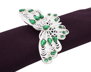Fennco Styles Jeweled Design Metal Napkin Ring - Set of 4 (Butterfly Green)