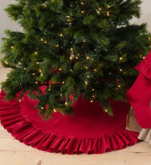 Geneviève Ruffled Design Cotton Holiday Christmas Tree Skirt