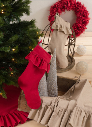 Geneviève Ruffled Design Cotton Christmas Stocking