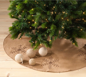Jeweled Snowflake Burlap Design Chirstmas Tree Skirt