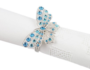 Fennco Styles Jeweled Design Metal Napkin Ring - Set of 4 (Butterfly)