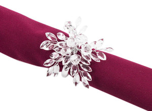 """Fennco Styles Crystal Design Collection Napkin Ring - Set of 4 (2.5"""" Crystal Rose Blossom)"""