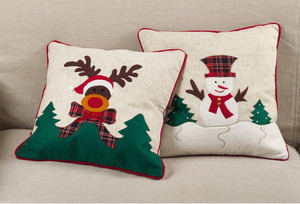 Fennco Styles Christmas Snowman Applique Design Holiday Accent Poly Filled Throw Pillow