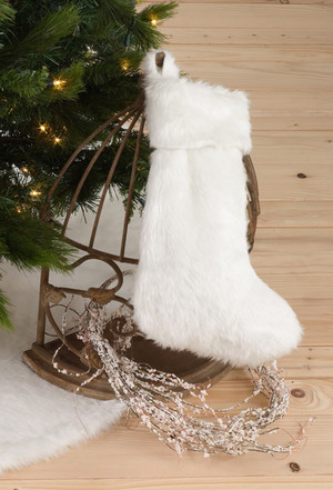 Noël Blanc Faux Fur Christmas Stocking