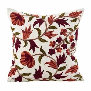 "Fennco Styles Floral Embroidered Design Cotton Down Filled Throw Pillow (18""x18"" Throw Pillow)"