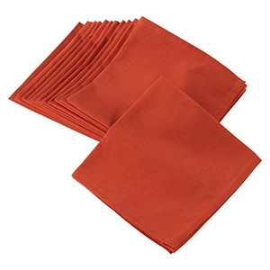 Fennco Styles Solid Bold Colors 20-Inch Square Cotton Cloth Napkin - 16 Colors (Orange Sold per 4)