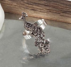Jeweled Peacock Napkin Rings, Set of 4