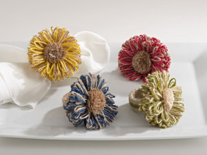 Lovely Flower Napkin Rings, Set of 4