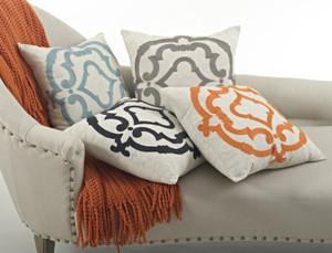 Embroidered Design Cotton Throw Pillow