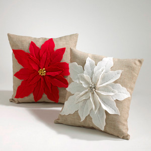 Poinsettia Felt Decorative Throw Pillow