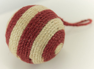 Two Tone Striped Jute Holiday Christmas Tree Ball Ornaments