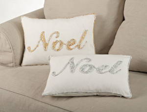 Noel Embroidered Decorative Throw Pillow