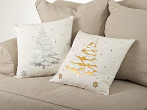 Christmas Tree Embroidered Decorative Throw Pillow
