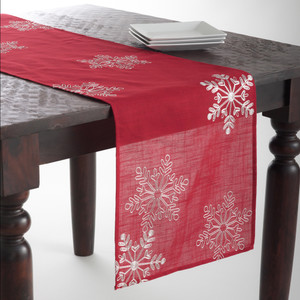 Embroidered White Snowflake Red Table Runner