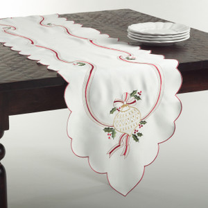 Embroidered Christmas Holly Holiday Ivory Table Runner