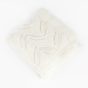 White Mohair Design Knitted Throw Blanket (TH001.W5267)