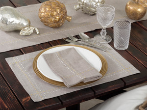 Anais Embroidered Silver and Gold Line Napkins, Set of 4