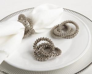 Uniqiue Three-ring Design Silver Napkin Ring, Set of 4