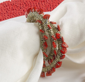 Hand Beaded Napkin Ring, Set of 4, 3 Colors