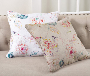 Fennco Styles 20-inch Printed Floral Down Filled Linen Throw Pillow - 2 Colors