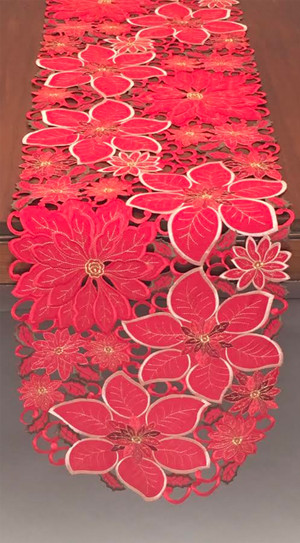 Fennco Styles Holiday Festive Poinsettia Red Flower Table Linen Tablecloth Runner