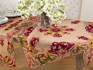 Fennco Styles Elegant Embroidered Floral Woven Tablecloth - One Piece - 3 Colors