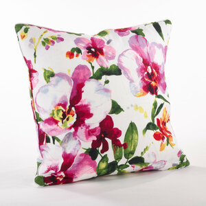 """Fennco Styles Home Decor Printed Floral Design Duck Filled Pillow - 20"""" Square"""