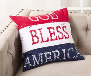 "Fennco Styles Multicolored God Bless America Design Pillow - 20"" Square (Case+Insert)"